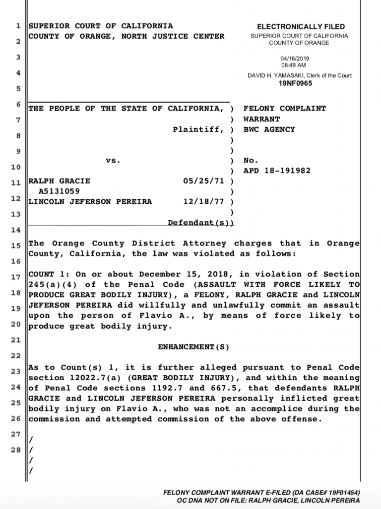 Ralph Gracie Arrest Warrant Out For Felony Assault of Flavio